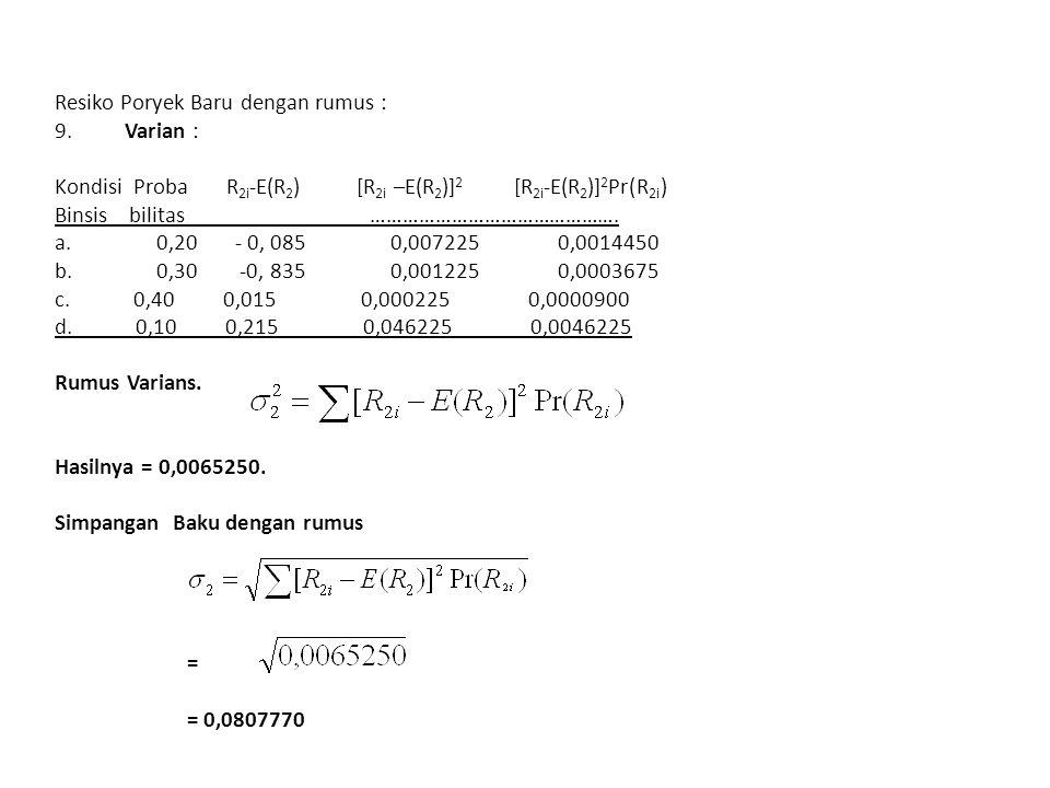 Resiko Poryek Baru dengan rumus : 9.Varian : Kondisi Proba R 2i -E(R 2 ) [R 2i –E(R 2 )] 2 [R 2i -E(R 2 )] 2 Pr(R 2i ) Binsis bilitas ……………………………………….