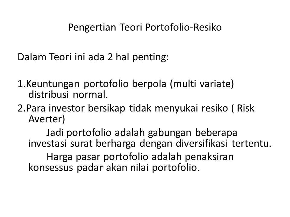 Pengertian Teori Portofolio-Resiko Dalam Teori ini ada 2 hal penting: 1.Keuntungan portofolio berpola (multi variate) distribusi normal. 2.Para invest