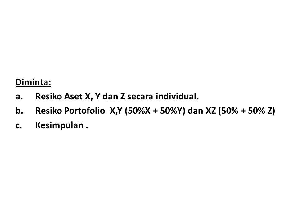 Diminta: a.Resiko Aset X, Y dan Z secara individual. b.Resiko Portofolio X,Y (50%X + 50%Y) dan XZ (50% + 50% Z) c.Kesimpulan.