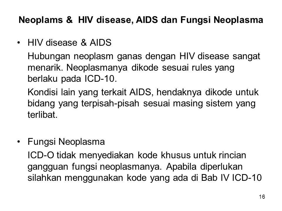 16 Neoplams & HIV disease, AIDS dan Fungsi Neoplasma HIV disease & AIDS Hubungan neoplasm ganas dengan HIV disease sangat menarik. Neoplasmanya dikode
