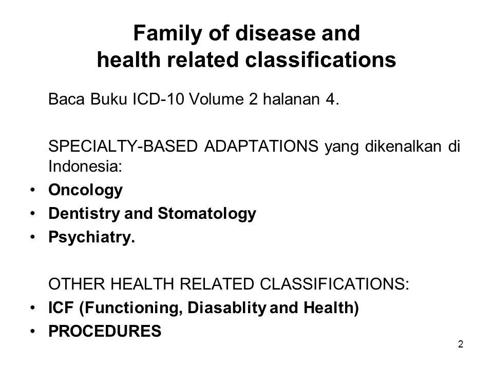 3 ICD-Jiwa (Bab V, F) Diterbitkan dalam bahasa Indonesia dengan judul: PPDGJ III = Pedoman Penggolongan dan Diagnosis Gangguan Jiwa di Indonesia III Berikut buku Suplemennya.