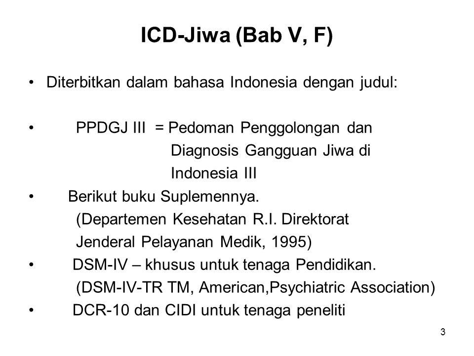 3 ICD-Jiwa (Bab V, F) Diterbitkan dalam bahasa Indonesia dengan judul: PPDGJ III = Pedoman Penggolongan dan Diagnosis Gangguan Jiwa di Indonesia III B