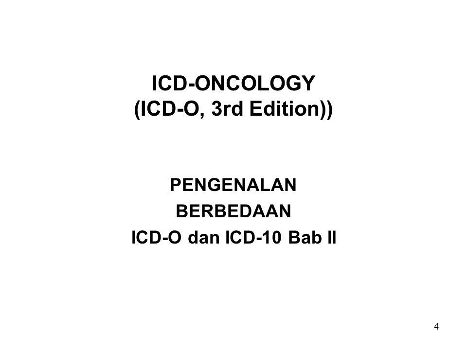 5 Perbedaan Antara ICD-O dan ICD-10 Bab II ICD-10 Volume 3, dimulai pada halaman 369 s/d 401.
