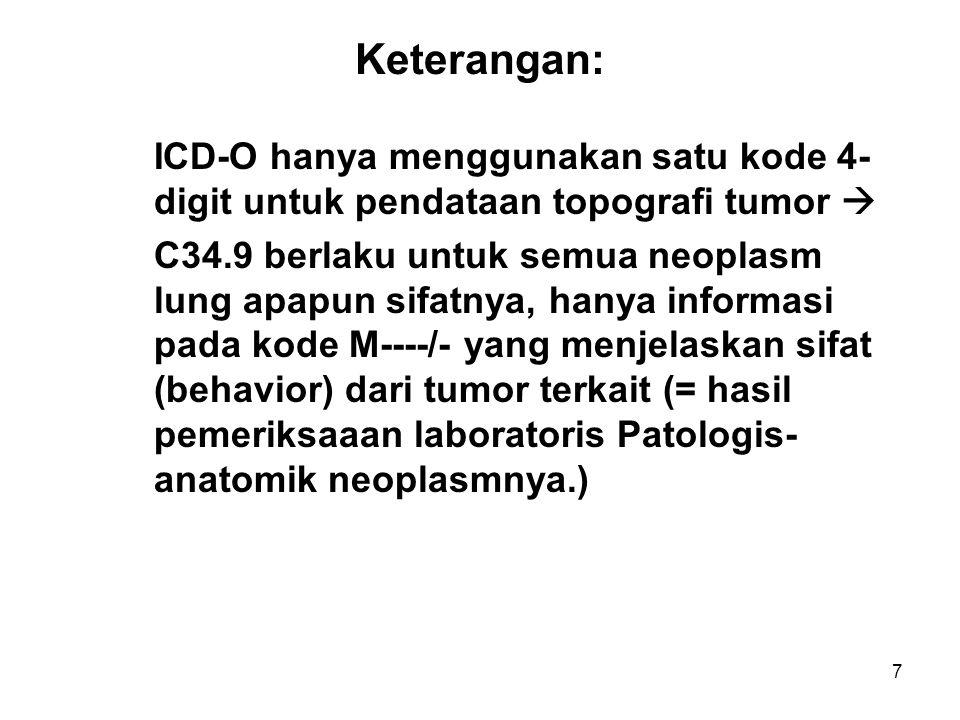 7 Keterangan: ICD-O hanya menggunakan satu kode 4- digit untuk pendataan topografi tumor  C34.9 berlaku untuk semua neoplasm lung apapun sifatnya, ha