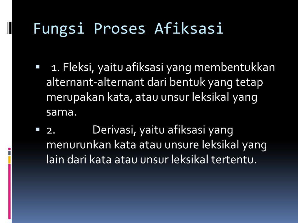 Fungsi Proses Afiksasi  1. Fleksi, yaitu afiksasi yang membentukkan alternant-alternant dari bentuk yang tetap merupakan kata, atau unsur leksikal ya