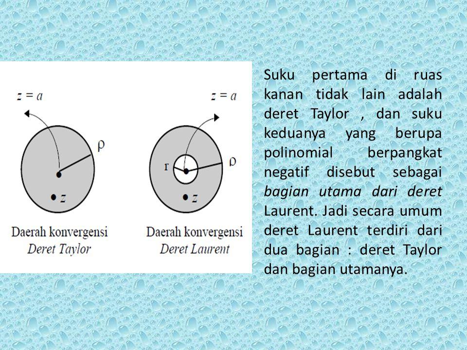 Deret laurent adalah generalisasi dari deret Taylor. Pada deret Laurent terdapat pangkat negatif yang tidak dimiliki pada deret Taylor. Bila fungsi f(