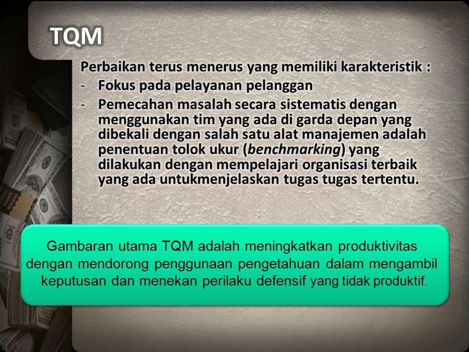 Gambaran utama TQM adalah meningkatkan produktivitas dengan mendorong penggunaan pengetahuan dalam mengambil keputusan dan menekan perilaku defensif y