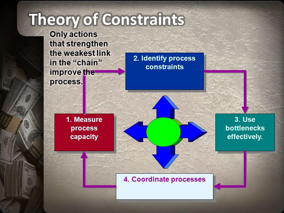 4. Coordinate processes 1. Measure process capacity 2. Identify process constraints 3. Use bottlenecks effectively.