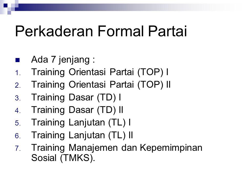 Perkaderan Formal Partai Ada 7 jenjang : 1. Training Orientasi Partai (TOP) I 2. Training Orientasi Partai (TOP) II 3. Training Dasar (TD) I 4. Traini