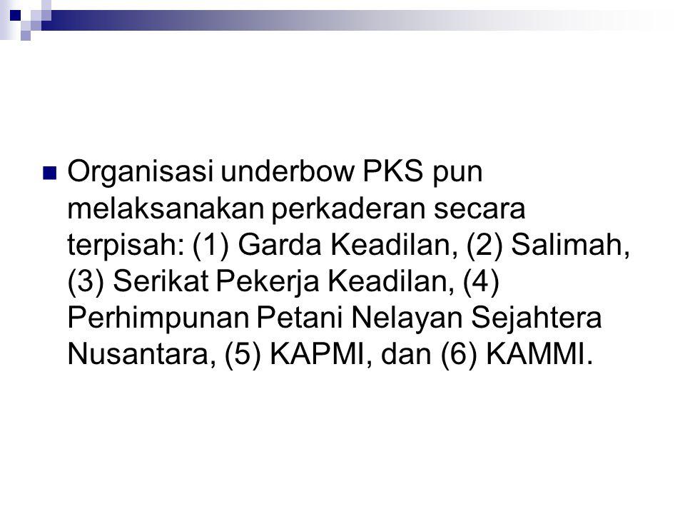 Organisasi underbow PKS pun melaksanakan perkaderan secara terpisah: (1) Garda Keadilan, (2) Salimah, (3) Serikat Pekerja Keadilan, (4) Perhimpunan Pe