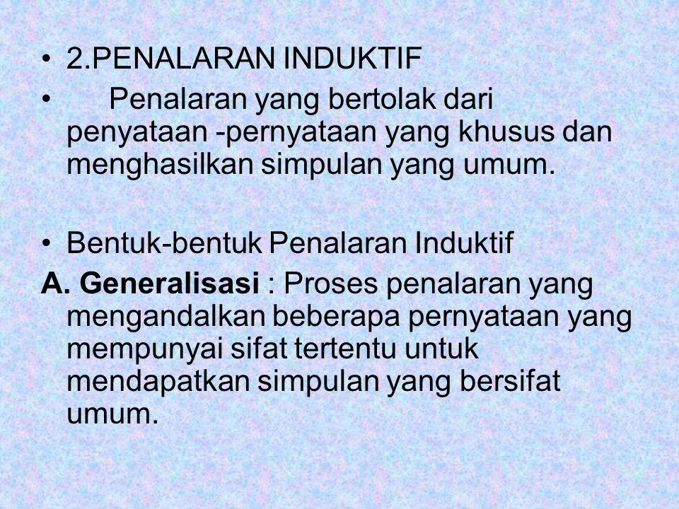 2.PENALARAN INDUKTIF Penalaran yang bertolak dari penyataan -pernyataan yang khusus dan menghasilkan simpulan yang umum. Bentuk-bentuk Penalaran Induk