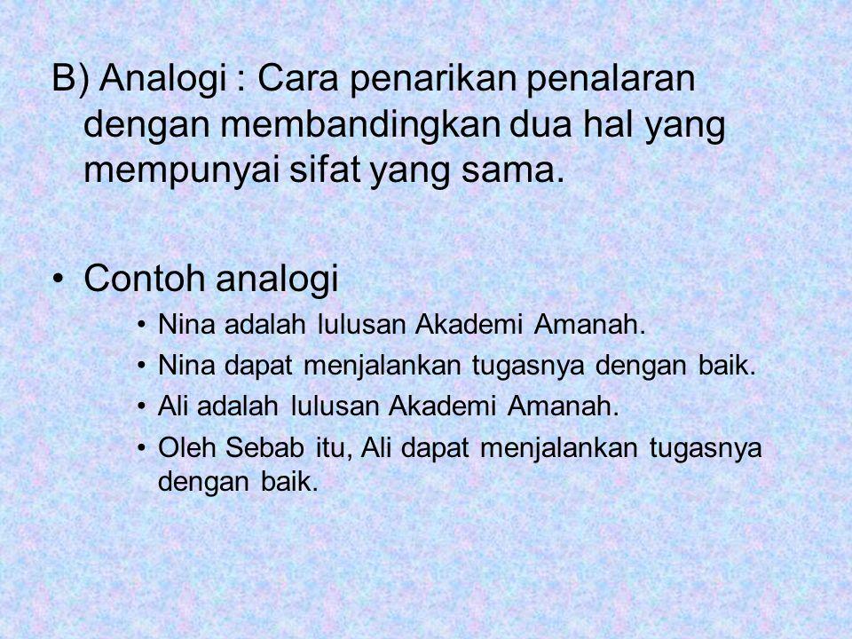B) Analogi : Cara penarikan penalaran dengan membandingkan dua hal yang mempunyai sifat yang sama. Contoh analogi Nina adalah lulusan Akademi Amanah.