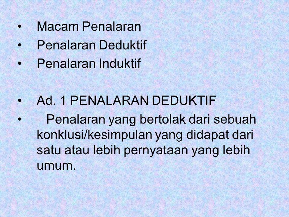 Macam Penalaran Penalaran Deduktif Penalaran Induktif Ad. 1 PENALARAN DEDUKTIF Penalaran yang bertolak dari sebuah konklusi/kesimpulan yang didapat da