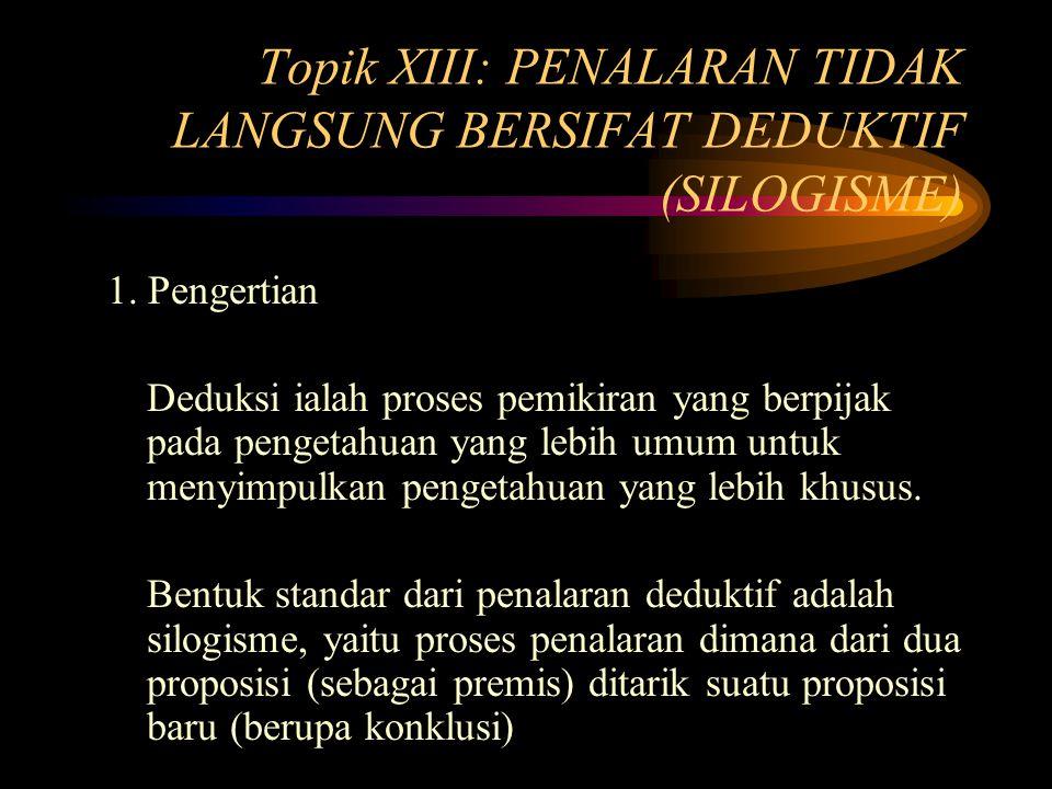 Topik XIII: PENALARAN TIDAK LANGSUNG BERSIFAT DEDUKTIF (SILOGISME) 1.