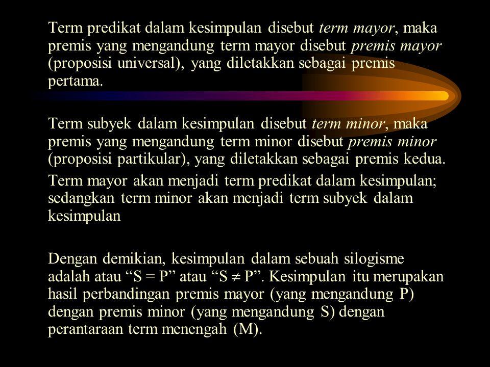 Karena M = P; sedang S = M; maka S = P Premis mayor M = PM = term antara Premis minorS = MP = term mayor KesimpulanS = PS = term minor 4.