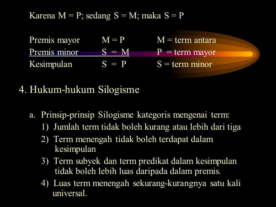 Karena M = P; sedang S = M; maka S = P Premis mayor M = PM = term antara Premis minorS = MP = term mayor KesimpulanS = PS = term minor 4. Hukum-hukum