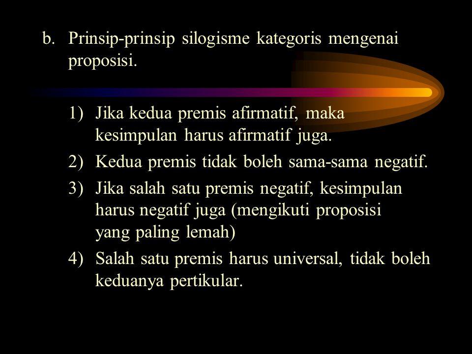 b. Prinsip-prinsip silogisme kategoris mengenai proposisi. 1) Jika kedua premis afirmatif, maka kesimpulan harus afirmatif juga. 2) Kedua premis tidak