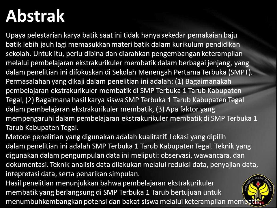 Kata Kunci Pembelajaran, Ekstrakurikurikuler, Batik.