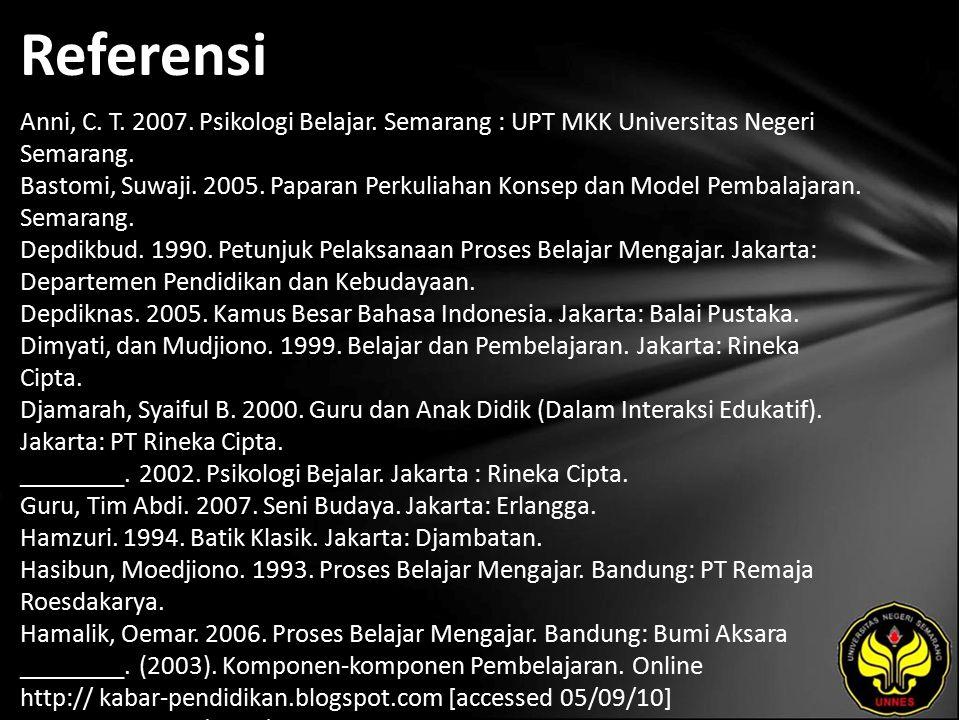 Referensi Anni, C. T. 2007. Psikologi Belajar. Semarang : UPT MKK Universitas Negeri Semarang. Bastomi, Suwaji. 2005. Paparan Perkuliahan Konsep dan M