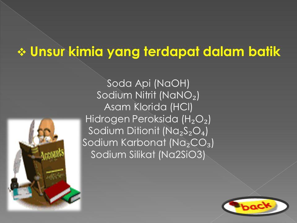  U Unsur kimia yang terdapat dalam batik Soda Api (NaOH) Sodium Nitrit (NaNO ₂ ) Asam Klorida (HCl) Hidrogen Peroksida (H ₂ O ₂ ) Sodium Ditionit (N