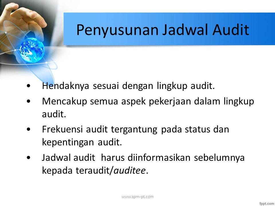 Penyusunan Jadwal Audit Hendaknya sesuai dengan lingkup audit. Mencakup semua aspek pekerjaan dalam lingkup audit. Frekuensi audit tergantung pada sta