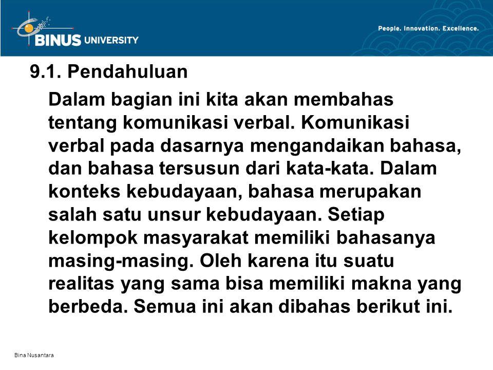 Bina Nusantara 9.1. Pendahuluan Dalam bagian ini kita akan membahas tentang komunikasi verbal. Komunikasi verbal pada dasarnya mengandaikan bahasa, da