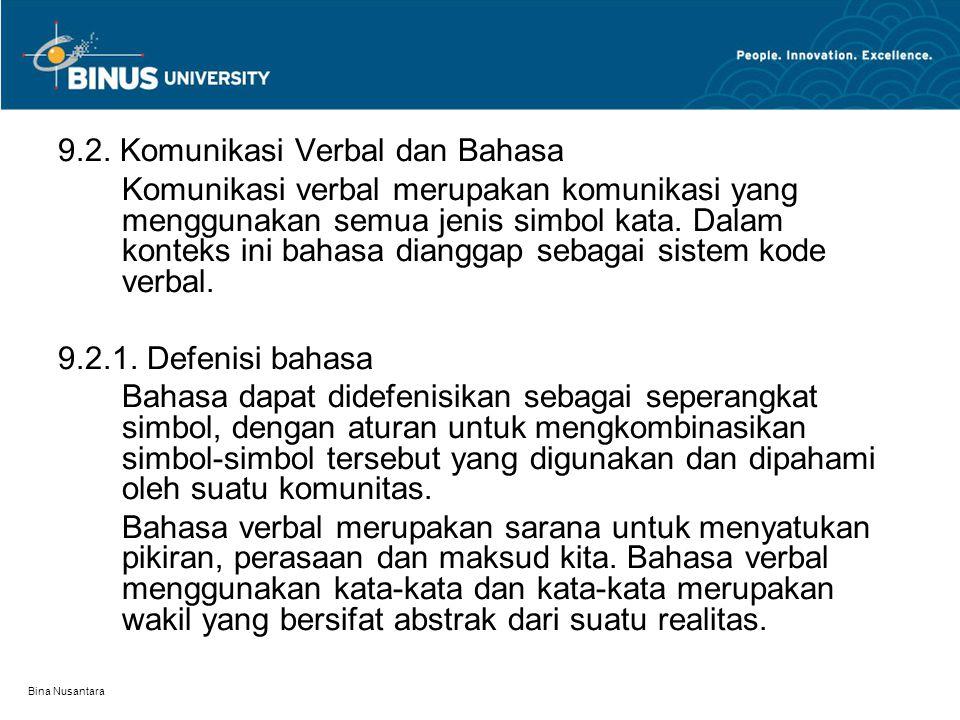 Bina Nusantara 9.2. Komunikasi Verbal dan Bahasa Komunikasi verbal merupakan komunikasi yang menggunakan semua jenis simbol kata. Dalam konteks ini ba