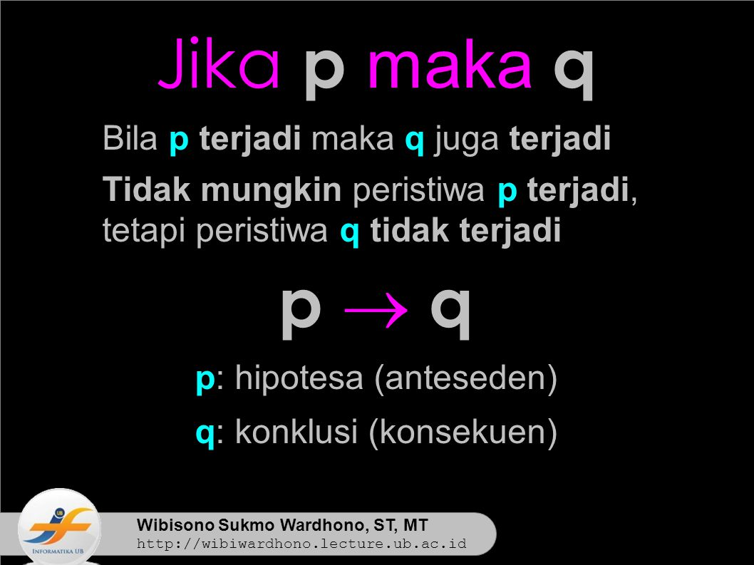Wibisono Sukmo Wardhono, ST, MT http://wibiwardhono.lecture.ub.ac.id Jika p maka q Bila p terjadi maka q juga terjadi Tidak mungkin peristiwa p terjadi, tetapi peristiwa q tidak terjadi p  qp  q p: hipotesa (anteseden) q: konklusi (konsekuen)
