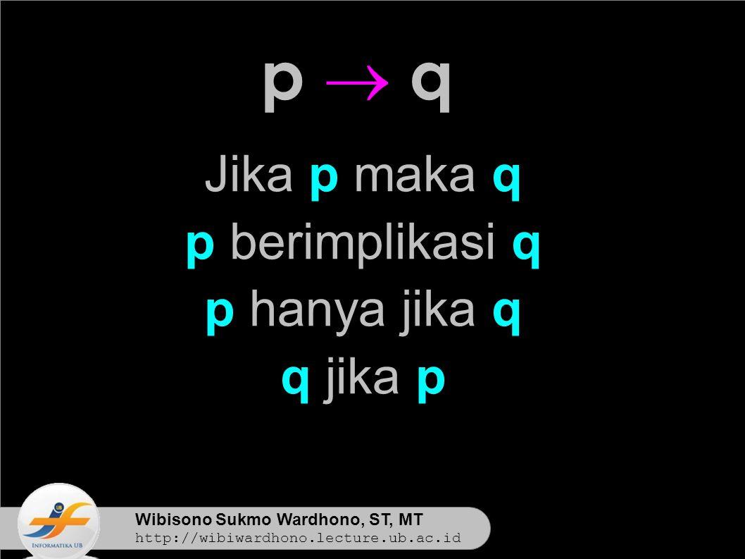 Wibisono Sukmo Wardhono, ST, MT http://wibiwardhono.lecture.ub.ac.id Jika p maka q p berimplikasi q p hanya jika q q jika p p  qp  q
