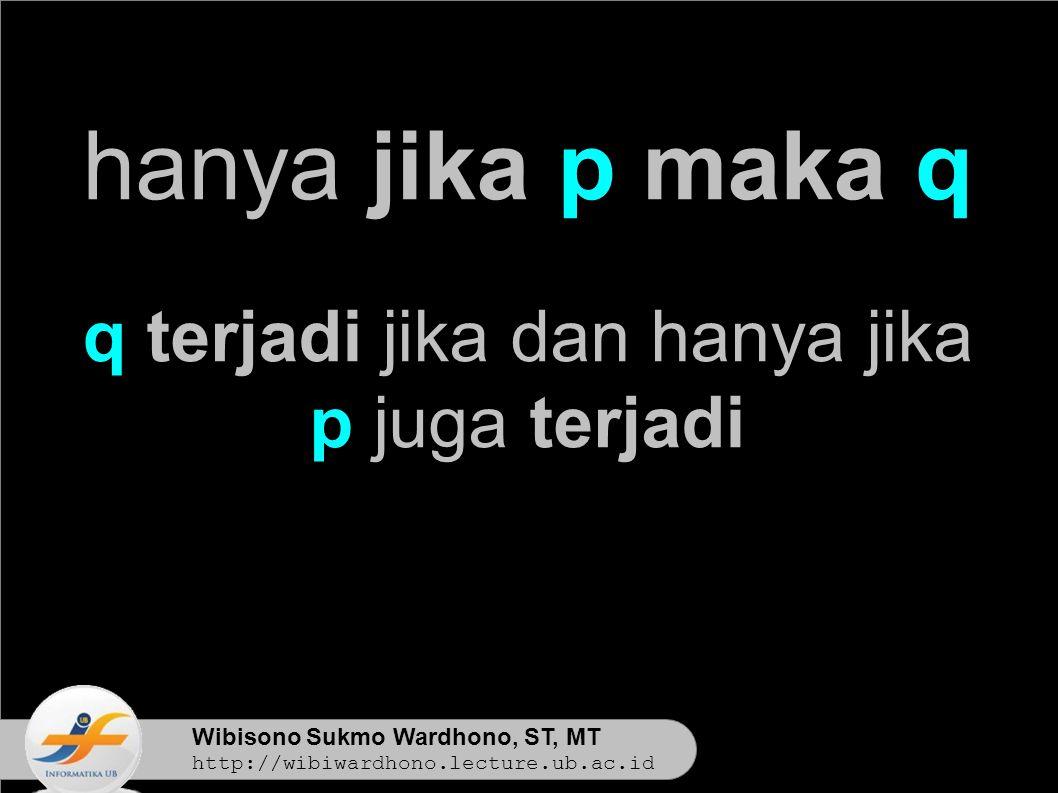 Wibisono Sukmo Wardhono, ST, MT http://wibiwardhono.lecture.ub.ac.id hanya jika p maka q q terjadi jika dan hanya jika p juga terjadi