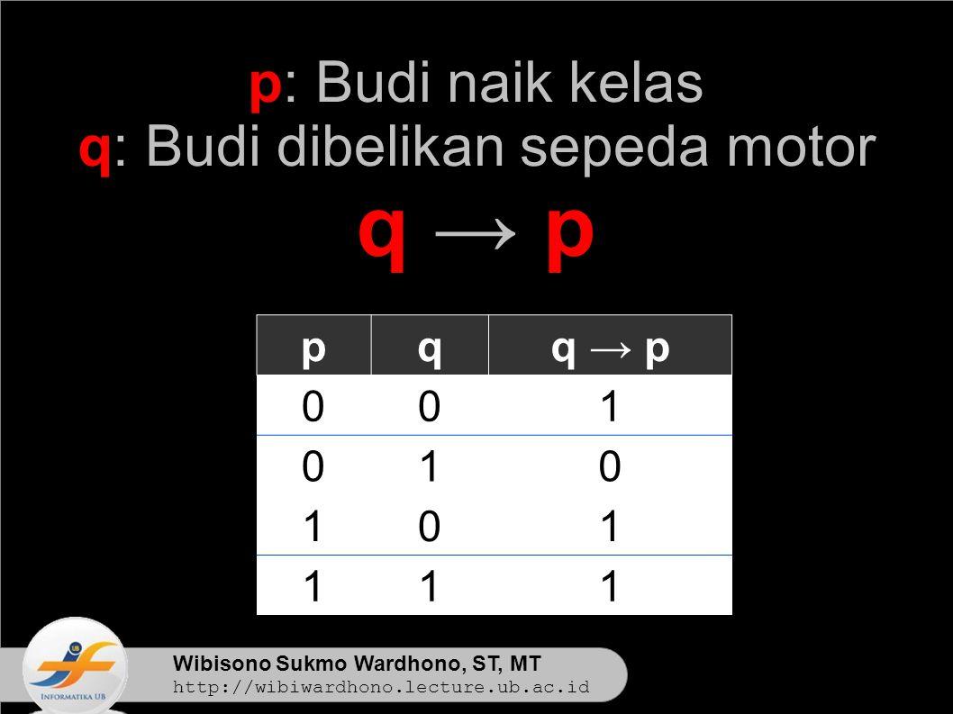 Wibisono Sukmo Wardhono, ST, MT http://wibiwardhono.lecture.ub.ac.id p: Budi naik kelas q: Budi dibelikan sepeda motor q → pq → p pqq → p 001 010 101 111
