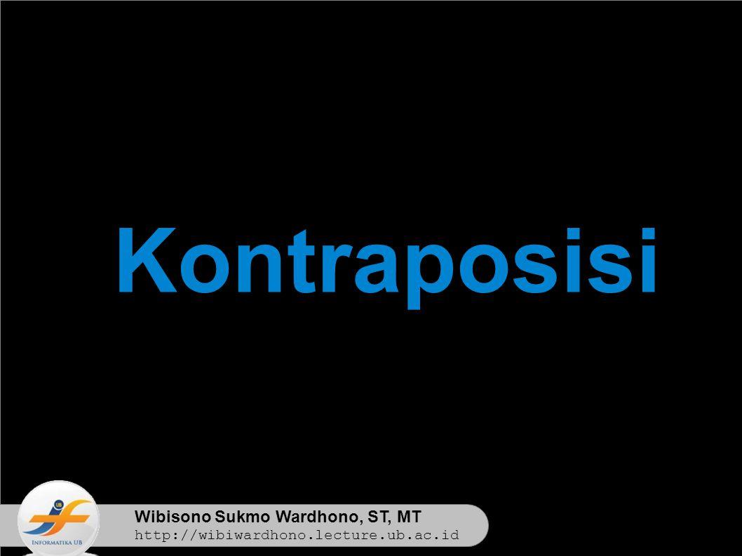 Wibisono Sukmo Wardhono, ST, MT http://wibiwardhono.lecture.ub.ac.id Kontraposisi