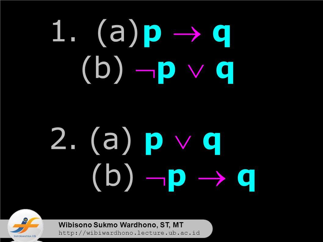 Wibisono Sukmo Wardhono, ST, MT http://wibiwardhono.lecture.ub.ac.id 1.(a)p  q (b) p  q 2.