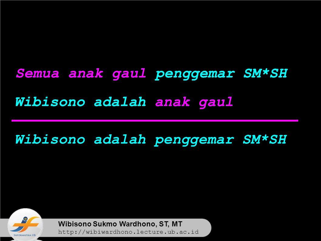 Wibisono Sukmo Wardhono, ST, MT http://wibiwardhono.lecture.ub.ac.id Semua anak gaul penggemar SM*SH Wibisono adalah anak gaul Wibisono adalah penggemar SM*SH