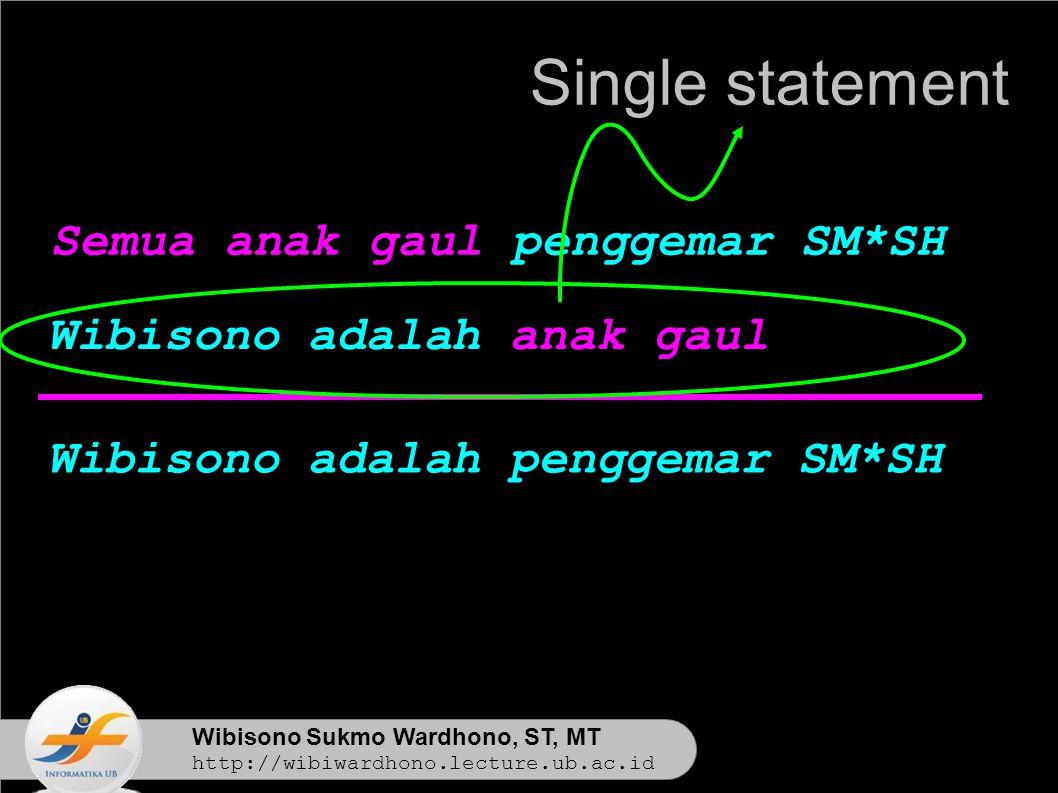 Wibisono Sukmo Wardhono, ST, MT http://wibiwardhono.lecture.ub.ac.id Wibisono adalah penggemar SM*SH Single statement Semua anak gaul penggemar SM*SH Wibisono adalah anak gaul