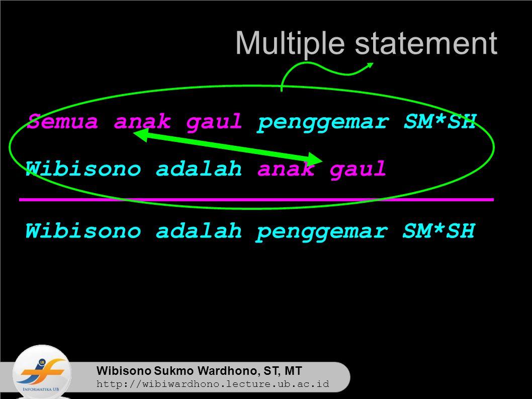 Wibisono Sukmo Wardhono, ST, MT http://wibiwardhono.lecture.ub.ac.id Wibisono adalah penggemar SM*SH Multiple statement Semua anak gaul penggemar SM*SH Wibisono adalah anak gaul