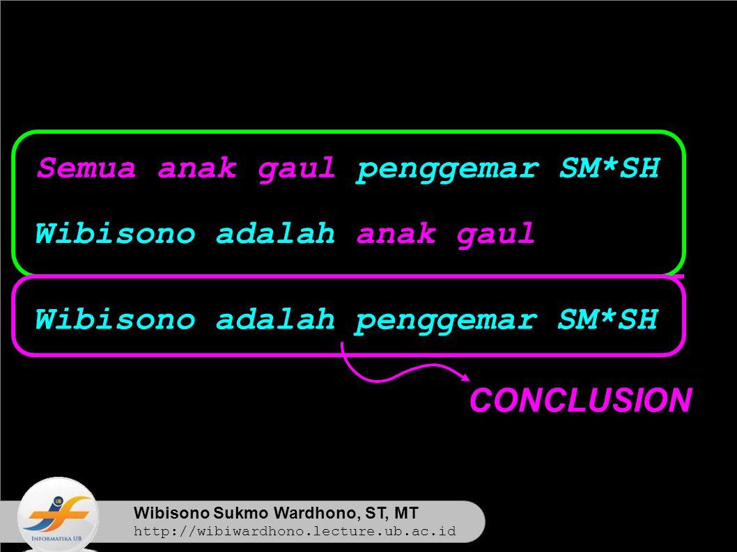 Wibisono Sukmo Wardhono, ST, MT http://wibiwardhono.lecture.ub.ac.id Wibisono adalah penggemar SM*SH Semua anak gaul penggemar SM*SH Wibisono adalah anak gaul CONCLUSION