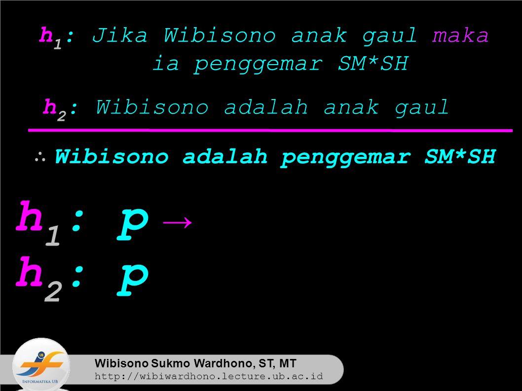 Wibisono Sukmo Wardhono, ST, MT http://wibiwardhono.lecture.ub.ac.id h 1 : Jika Wibisono anak gaul maka ia penggemar SM*SH h 2 : Wibisono adalah anak gaul h 1 : Jika Wibisono anak gaul maka ia penggemar SM*SH h 1 : p h 2 : p ∴ Wibisono adalah penggemar SM*SH →