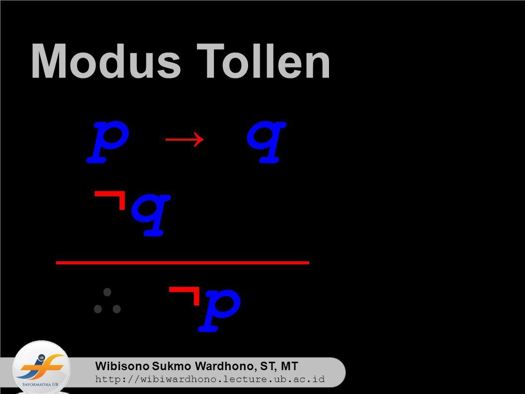 Wibisono Sukmo Wardhono, ST, MT http://wibiwardhono.lecture.ub.ac.id p → q ¬q¬q ∴ ¬p∴ ¬p Modus Tollen