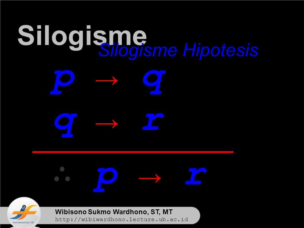 Wibisono Sukmo Wardhono, ST, MT http://wibiwardhono.lecture.ub.ac.id p → q q → r ∴ p → r Silogisme Silogisme Hipotesis