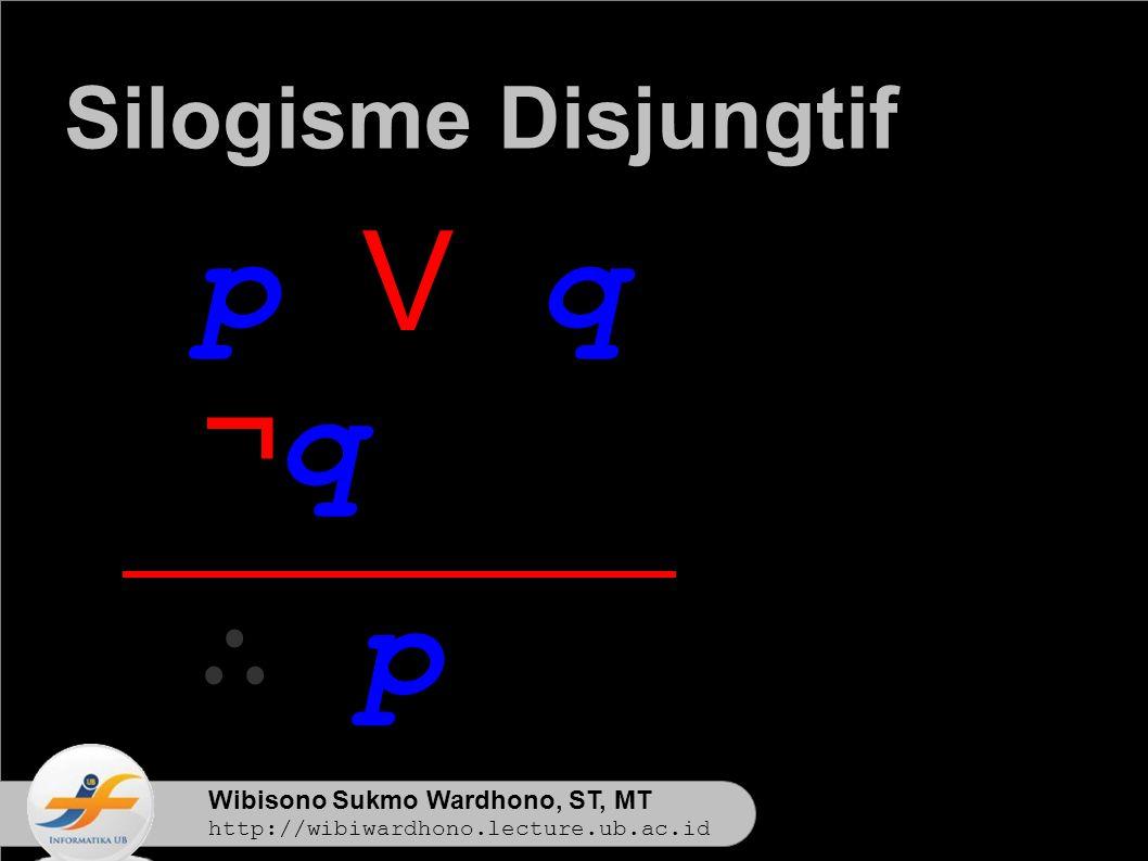 Wibisono Sukmo Wardhono, ST, MT http://wibiwardhono.lecture.ub.ac.id p V q ¬q¬q ∴ p Silogisme Disjungtif
