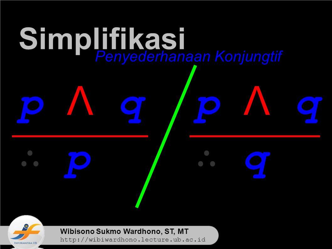 Wibisono Sukmo Wardhono, ST, MT http://wibiwardhono.lecture.ub.ac.id p Λ q ∴ p Simplifikasi Penyederhanaan Konjungtif p Λ q ∴ q