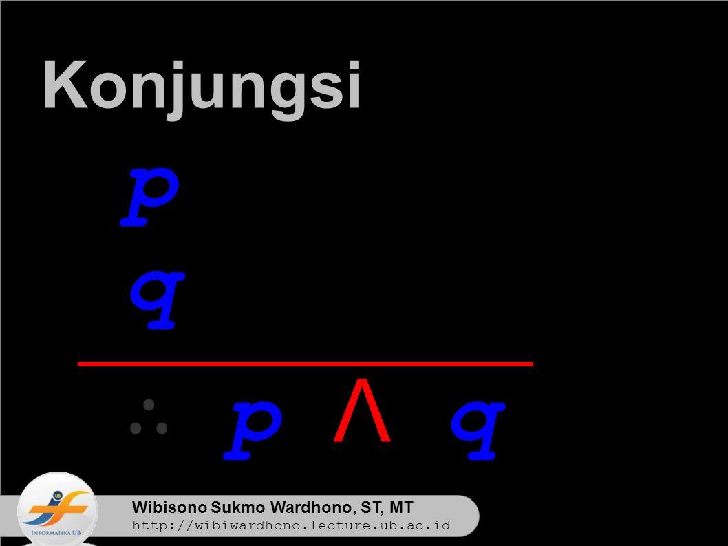 Wibisono Sukmo Wardhono, ST, MT http://wibiwardhono.lecture.ub.ac.id p q ∴ p Λ q Konjungsi