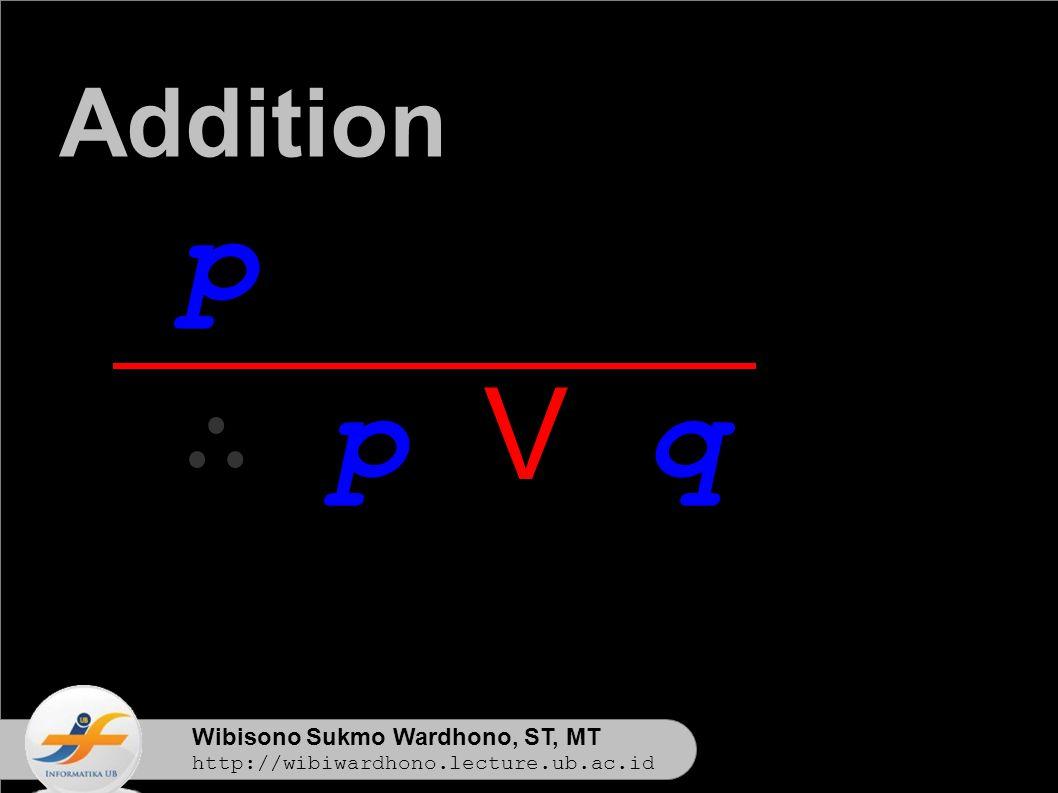 Wibisono Sukmo Wardhono, ST, MT http://wibiwardhono.lecture.ub.ac.id p ∴ p V q Addition