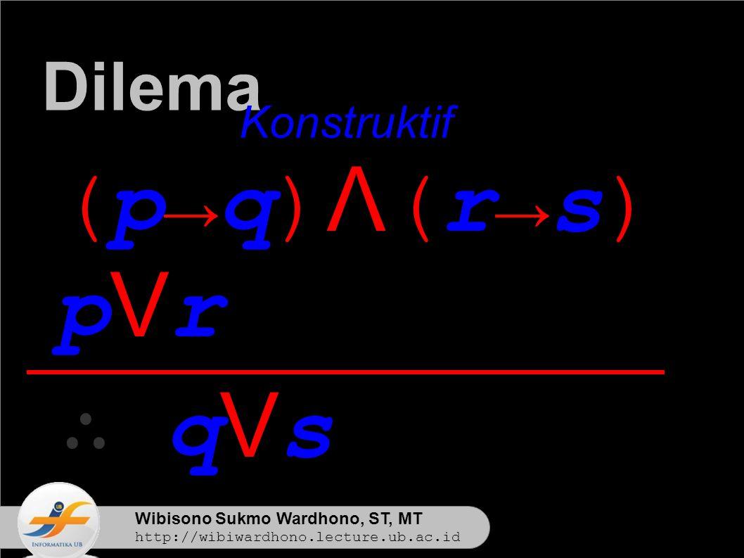 Wibisono Sukmo Wardhono, ST, MT http://wibiwardhono.lecture.ub.ac.id (p→q)Λ(r→s)(p→q)Λ(r→s) pVrpVr ∴ qVs Dilema Konstruktif