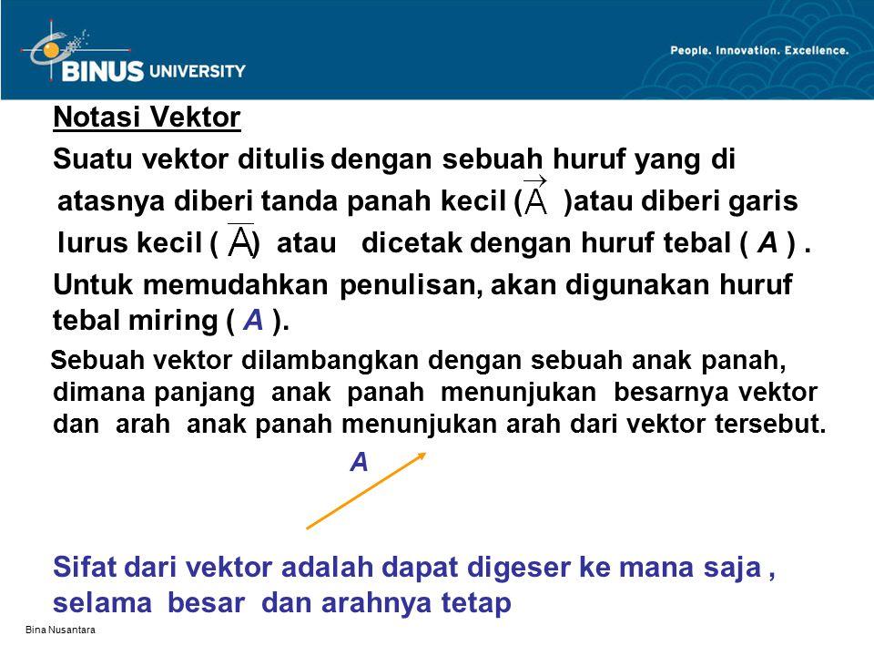 Bina Nusantara Notasi Vektor Suatu vektor ditulis dengan sebuah huruf yang di atasnya diberi tanda panah kecil ( )atau diberi garis lurus kecil ( ) at