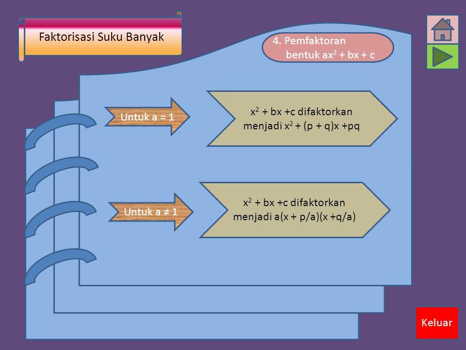 Faktorisasi Suku Banyak Keluar 4. Pemfaktoran bentuk ax 2 + bx + c Untuk a = 1 x 2 + bx +c difaktorkan menjadi x 2 + (p + q)x +pq Untuk a ≠ 1 x 2 + bx