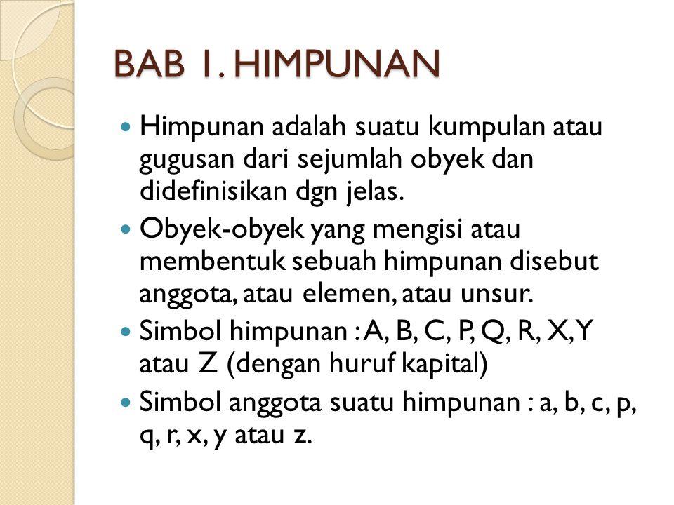 BAB 1. HIMPUNAN Himpunan adalah suatu kumpulan atau gugusan dari sejumlah obyek dan didefinisikan dgn jelas. Obyek-obyek yang mengisi atau membentuk s
