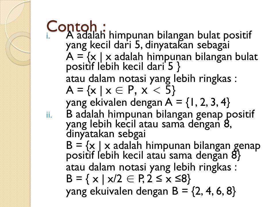 Contoh : i. A adalah himpunan bilangan bulat positif yang kecil dari 5, dinyatakan sebagai A = {x | x adalah himpunan bilangan bulat positif lebih kec