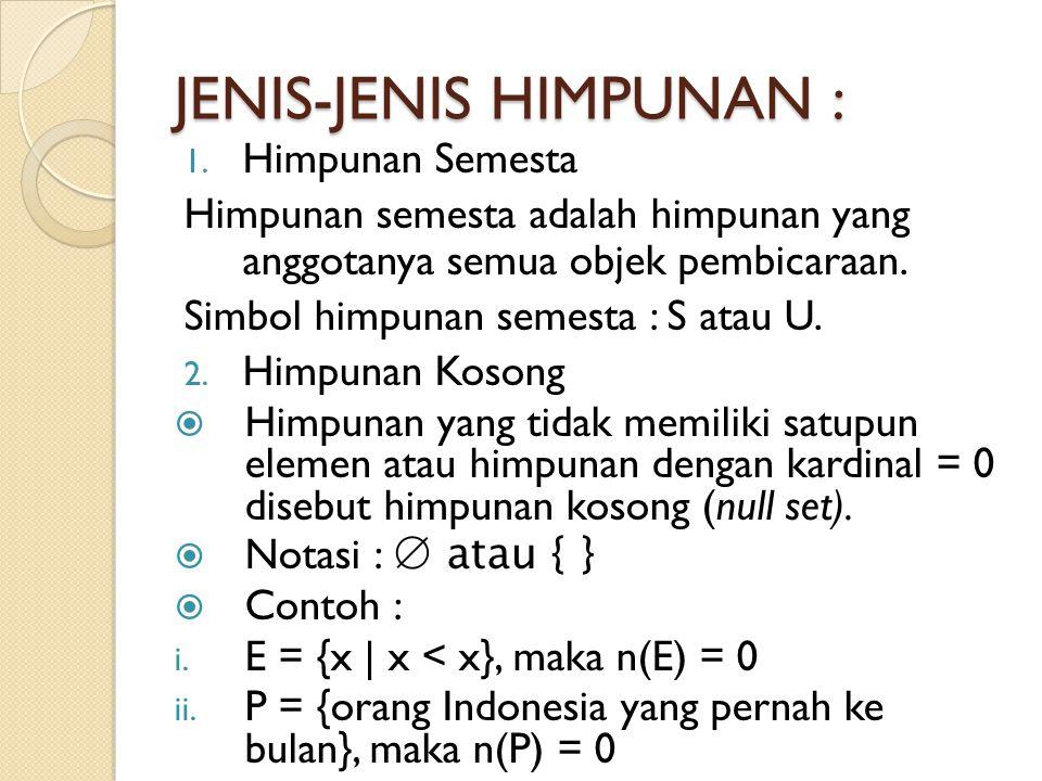 JENIS-JENIS HIMPUNAN : 1. Himpunan Semesta Himpunan semesta adalah himpunan yang anggotanya semua objek pembicaraan. Simbol himpunan semesta : S atau